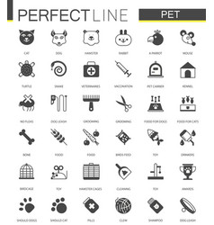 Black classic web pet shop icons set vector