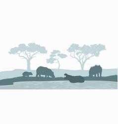 Black silhouette hippopotamus family vector