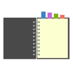 Blank grey notebook with colorful bookmarks vector image