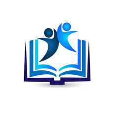 book with team figures icon vector image