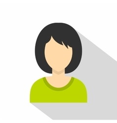 Brunette woman icon flat style vector image