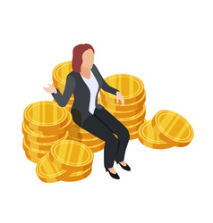 businesswoman sitting on golden coins vector image