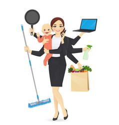 busy mother with baby vector image