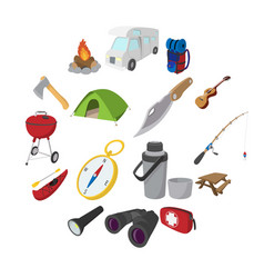 camping cartoon icons vector image