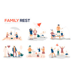 cartoon mother father and children sunbathing vector image