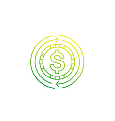 cash back money refund or exchange icon linear vector image