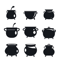 cauldron kettle halloween icons set simple style vector image
