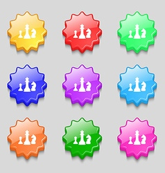 Chess Game icon sign symbol on nine wavy colourful vector