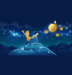 Child look in telescope boy space observation vector