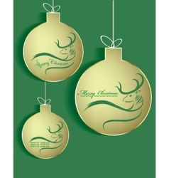 Christmas balls gold color vector image vector image