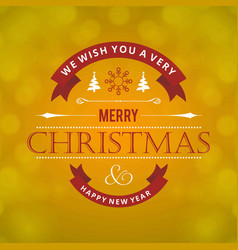 christmas greetings card with light green vector image