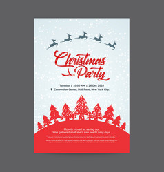 Christmas party invitation card with red trees vector