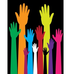 Colorful Raised Hands2 vector image