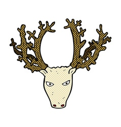 Comic cartoon stag head vector
