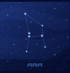 Constellation ara altar night star sky vector