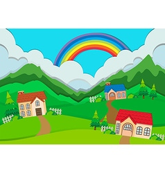 Countryside scene with houses on hills vector image