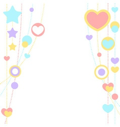 Cute congratulation card with border of hearts vector image