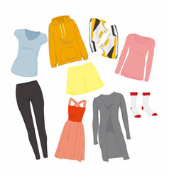 cute women fashion style items set vector image
