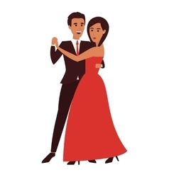 Dancing couple flat design vector