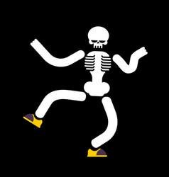 dancing skeleton isolated skull dances street vector image