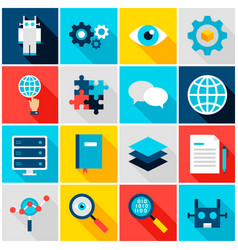 deep learning colorful icons vector image
