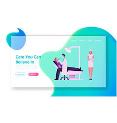 Dentist check up or treatment website landing page vector