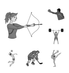 Different kinds of sports monochrome icons in set vector