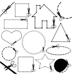 different scissors cutting set vector image