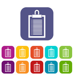 Document plan icons set vector
