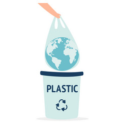 Earth in a plastic bag ecology conversation eco vector
