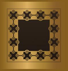 engraved gold metal frame blank vector image