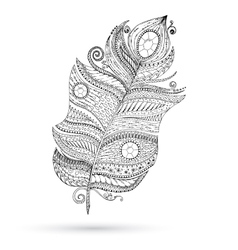 Ethnic doodle feather on white background vector image