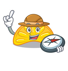 Explorer orange jelly candy mascot cartoon vector