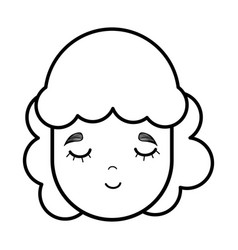 face happy beautiful girl with hair style vector image
