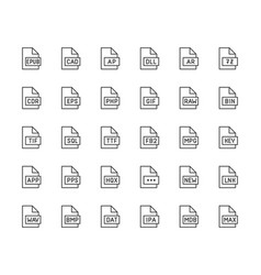 file format flat line icons set epub dll pps vector image