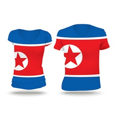 Flag shirt design of North Korea vector image