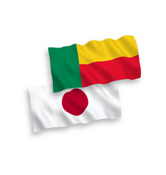 Flags japan and benin on a white background vector