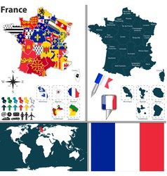 France map with regions and flags vector