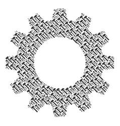Gearwheel mosaic of hammer icons vector