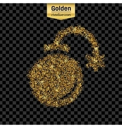 Gold glitter icon of exploding bomb vector