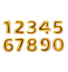 Golden numbers realistic metal plump numerals vector