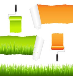 grass and paper elements vector image