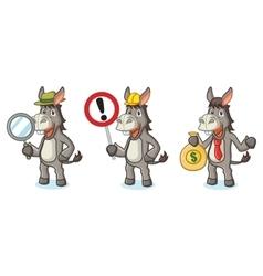 Gray Donkey Mascot with money vector image