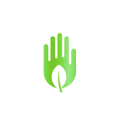 Green leaf in hand harvest abstract icon ecology vector