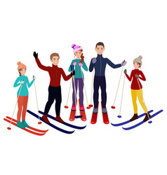 group of skiers in cartoon style vector image