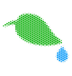 halftone dot natural leaf with drop icon vector image