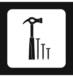 Hammer and nails icon simple style vector image