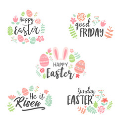 happy easter lettering sticker collection vector image