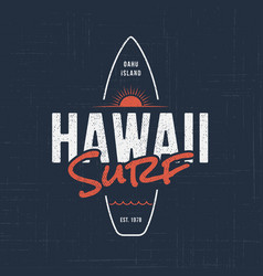 hawaii surf t-shirt and apparel design vector image