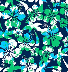 Hibiscus and palm seamless pattern vector image